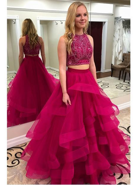 7455a4af29b Two Piece Beaded Top Long Prom Dress Semi Formal Dresses Wedding Party Dress