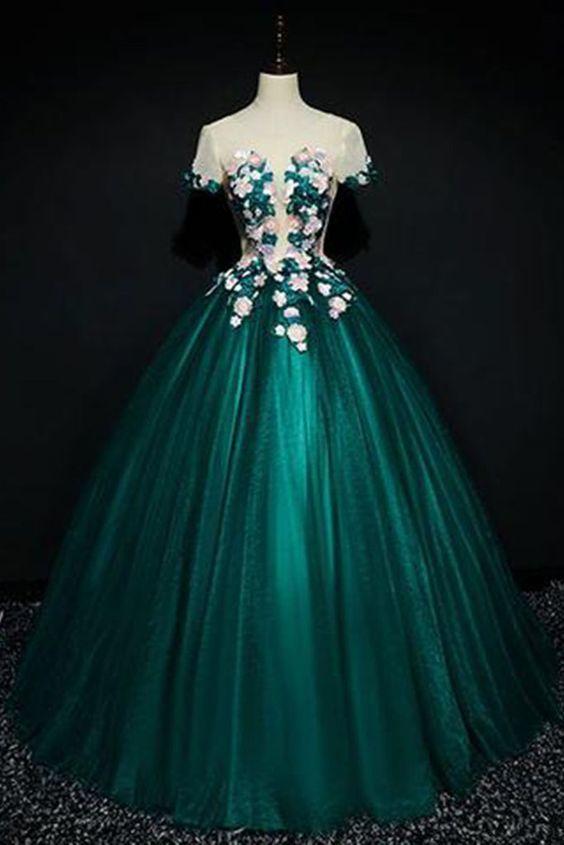 Dark Green Satin, Short Sleeves, A-line Evening Dress With Flower Appliqués,