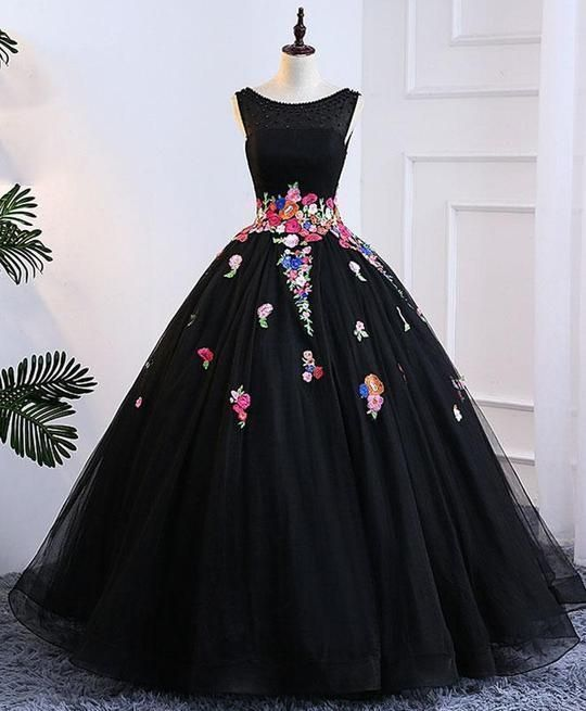 Black tull prom dress, long evening gown for prom