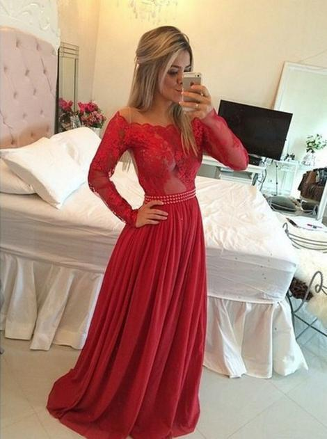 A-line Long Prom Dress Long Sleeves Semi Formal Dresses Wedding Party Dress