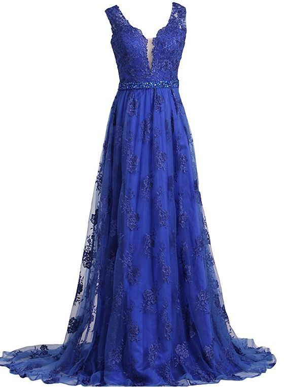 Womens Prom Dresses 2019 V-Neck Beading Sweep Train With Lace Dress