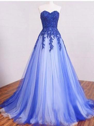 A-line Sweetheart Long Prom Drsess Evening Tulle Party Dresses