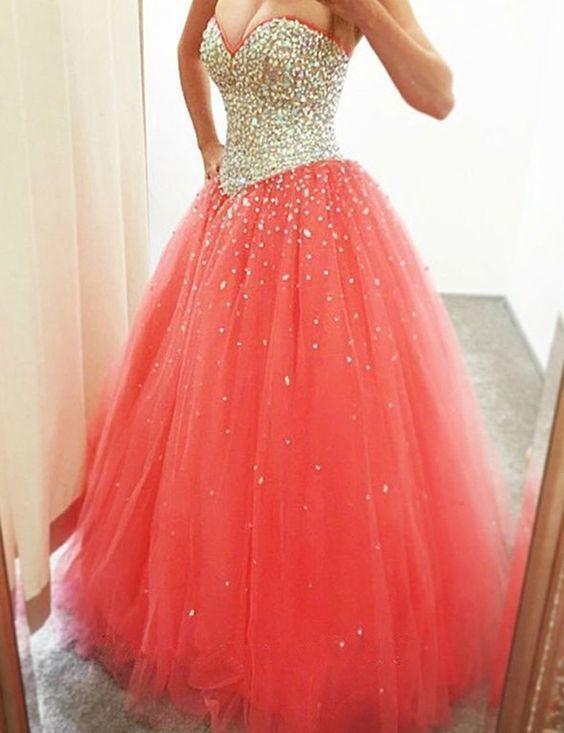 Luxurious Sweetheart Sleeveless Zipper-Up Rhinestone Sequines Long Prom Dress