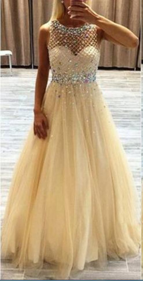 Scoop Neckline Long A-line Rhinestone Beige Tulle Prom Dresses