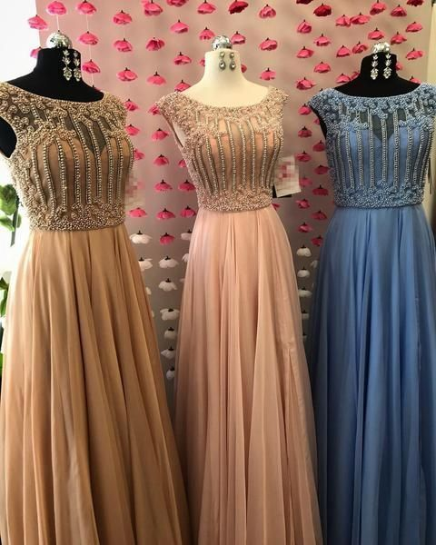 Cap Sleeve Scoop Neck Beaded Long Evening Prom Dresses,