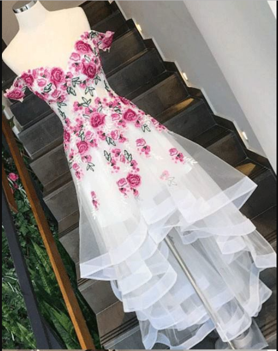 Gorgeous Custom Made Unique sweetheart off the shoulder floral high low prom