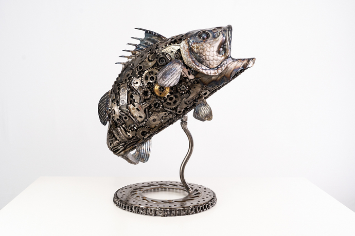 Sea bass fish metal art sculpture