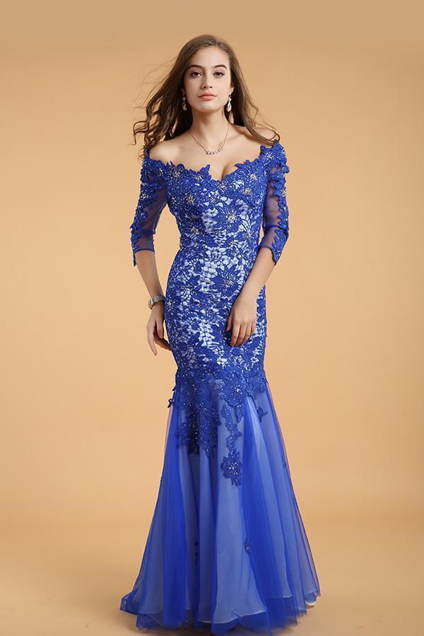 Lace V-neck Blue Half Sleeves Backless Long Prom Dresses