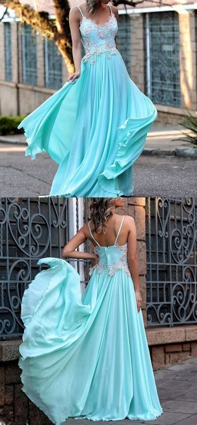 Chic a-line spaghetti straps prom dress floor length blue lace prom dress