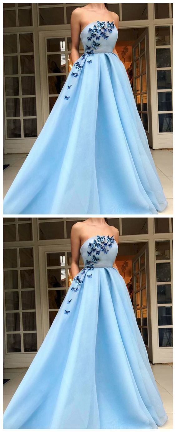 Long Evening Dress,Party Dress With Applique ,A Line Prom Dress