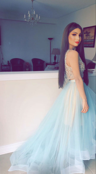 Sexy Crystal Beading Two Piece Prom Dresses, Tulle Blue Homecoming Dress, Long