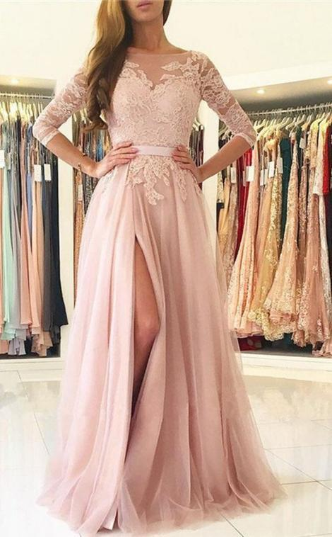 5ff81f6fd01 A-line Long Prom Dress With Sleeves Semi Formal Dresses Wedding Party Dress