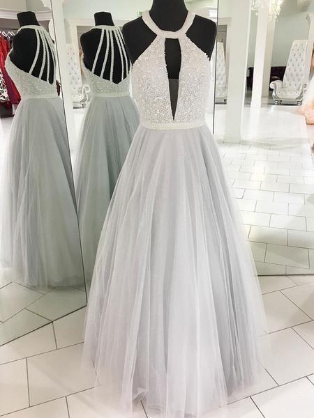 Cheap Elegant Fashion Sexy Halter Tulle Beaded A line Custom Grey Long Evening