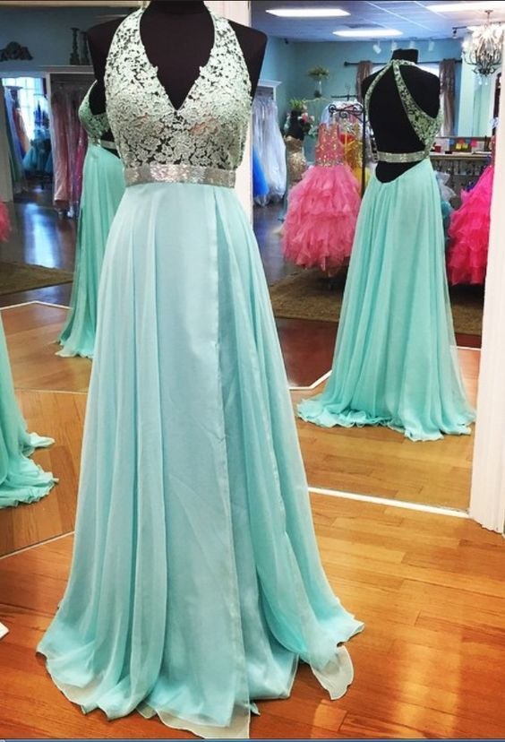 Empire Prom Dress,Lace Prom Dress,Halter Long Prom Dress,Sexy Backless Evening