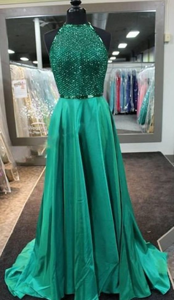 Green Prom Dress,long Prom Dress,beaded Prom Dress,new Arrived Gown,charming