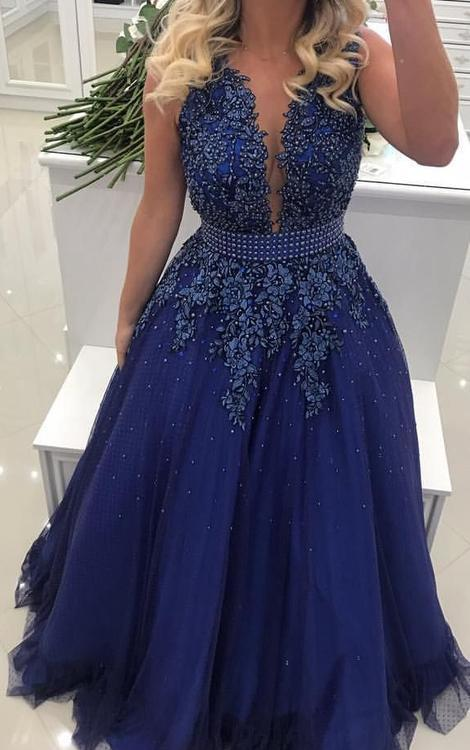 A-line Floor Length Prom Dress With Applique and Pearls Semi Formal Dresses