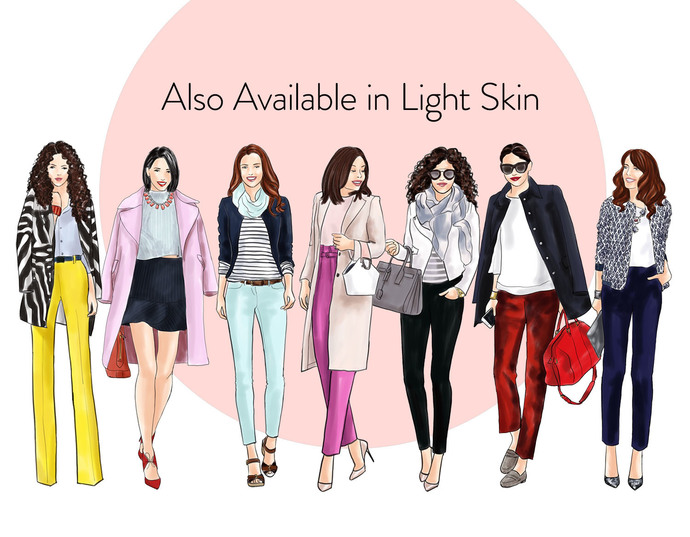 Watercolor fashion illustration clipart - Fashion Girls 22 - Dark Skin