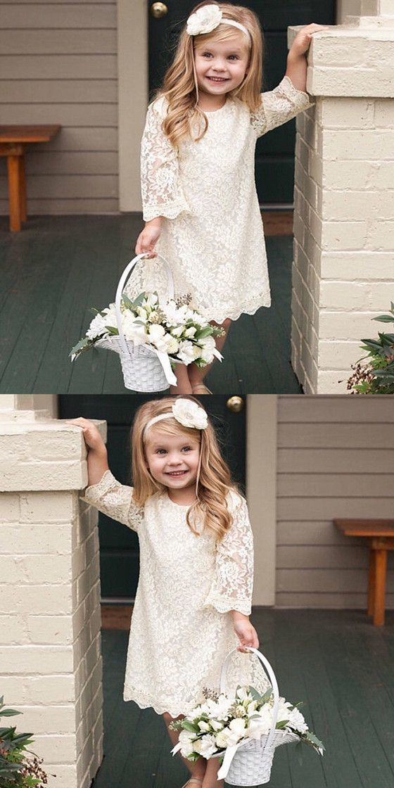 d369a1b0b57ec Ivory Lace Dress for Toddler, Little Girls Rustic Vintage Flower Girl Dress