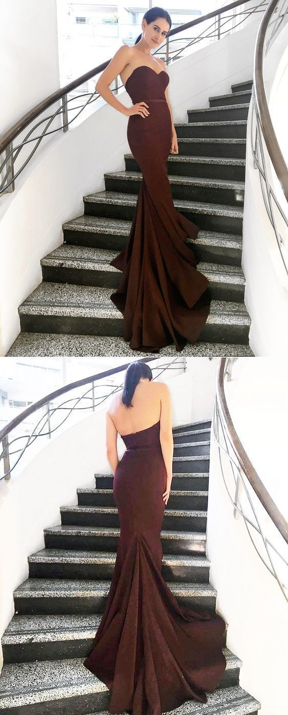 Strapless Mermaid Burgundy Long Bridesmaid Dress with Train Dresses