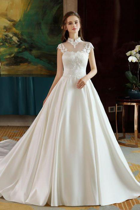 Ivory High Neck Ball Gown Lace Applique Cheap By Prom Dresses On