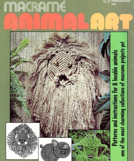 Instant PDF Digital Download Vintage Macrame Booklet Macrame Animal Art Wall
