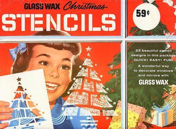 Printable Vintage '50s Christmas Spray Snow Can Stencils PDF Instant Digital