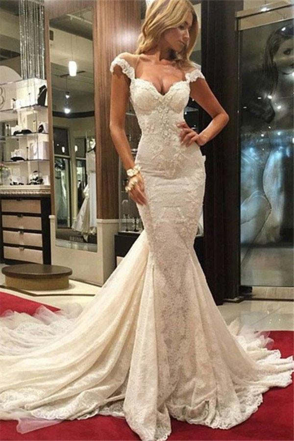 Sexy Mermaid Lace Wedding Dresses 2017 Cap By Prom Dresses On Zibbet