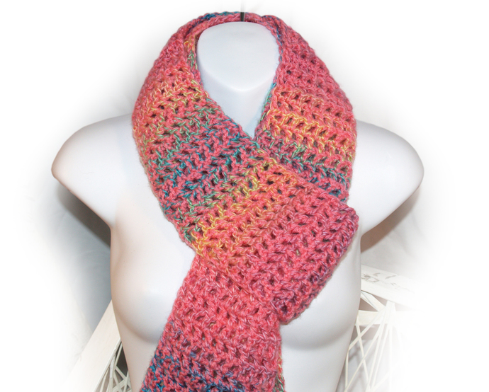Long Pink Scarf, Womans Scarf, Extra Long Scarf, Crocheted Scarf, Pink Crocheted