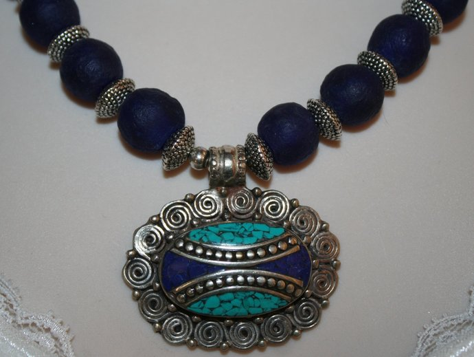 African Recycled Cobalt Blue Glass Statement Necklace, Inlaid Nepalese Lapis