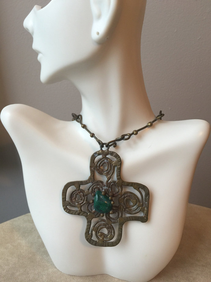 Authentic Signed Pal Kepenyes Necklace/Brutalist Designed Cross Pendant and