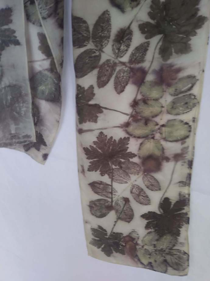 Naturally Dyed Silk Scarf 8x54 Hand Dyed with Natural Materials