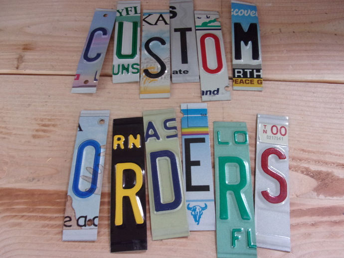 LICENSE PLATE LETTERS and NUMBERS, spacers and ends too !  I customize for you .