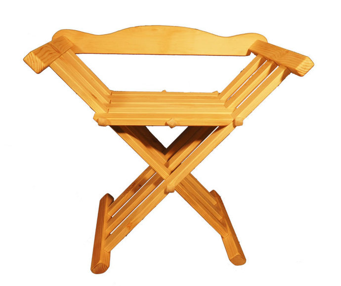 Wooden medieval viking folding chair with back support
