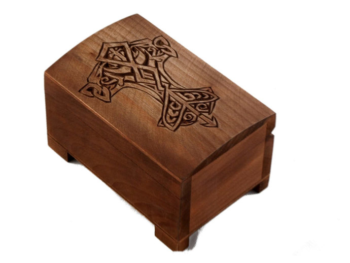 wooden historical jewelry box - Thor's hammer