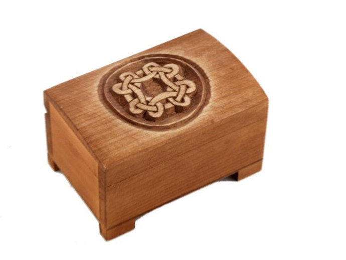 wooden historical jewelry box with celtic pattern