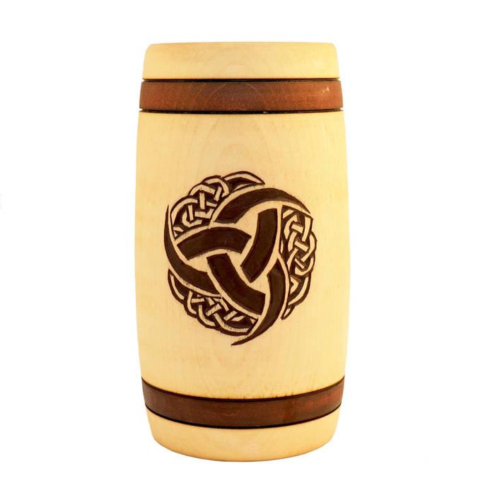 Triple Horn of Odin Hand Carved Wooden Beer Mug 0.7l 23 oz