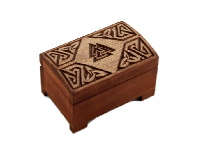 wooden historical box with hand carved valknut pattern