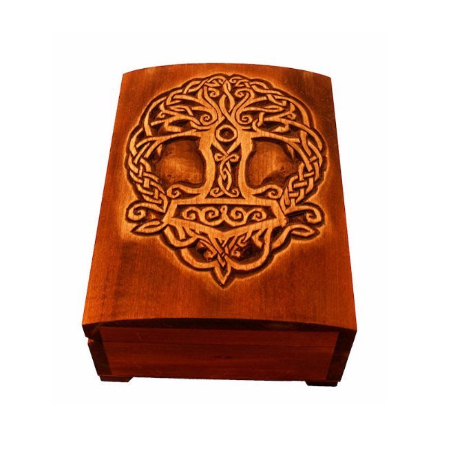 Wooden historical jewelry box with Yggdrasil and Thor hammer