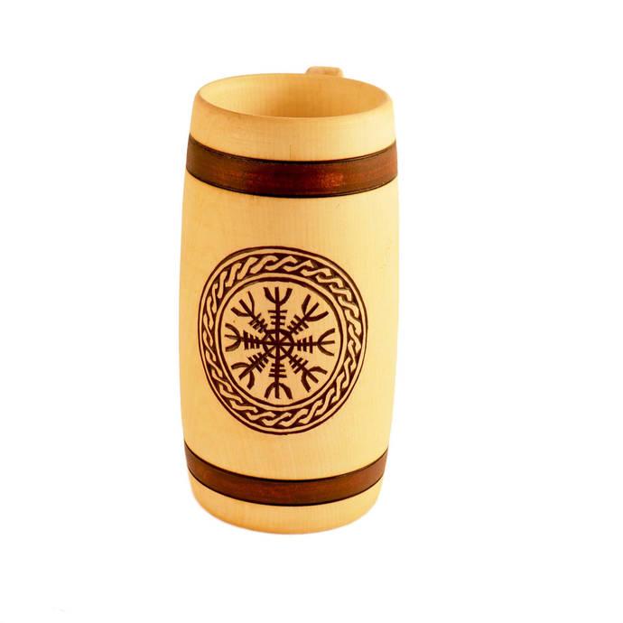 Aegishjalmur Hand Carved Wooden Beer Mug 0,7 litre ( 23 oz )