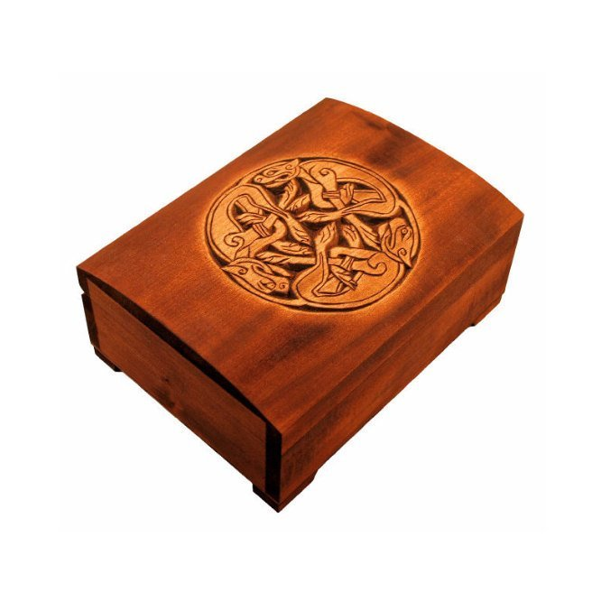 Wooden historical jewelry box with Celtic Ornament from Book of Kells