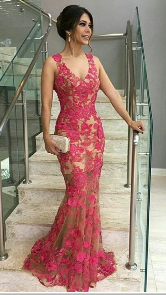 Red Lace Mermaid Ball Gown, V-neck Sleeveless, Plus Evening Gown, Formal Dress