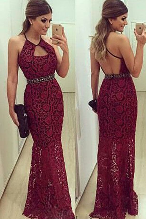 Modern Halter Neck Beading Mermaid Long Burgundy Lace Evening Dress,Custom
