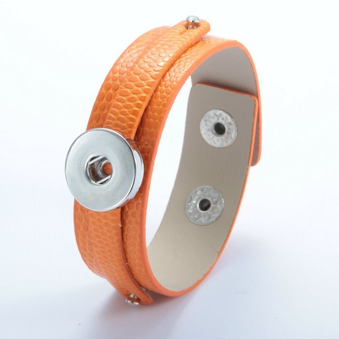 Orange Leather Snap Bracelet, Faux Snake Skin Texture, Snap Charm Bracelet, Snap