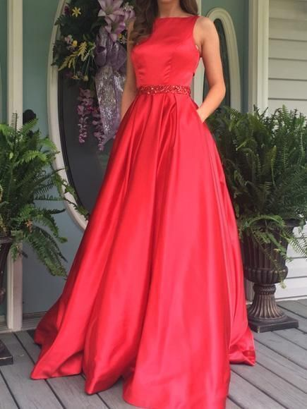 Red Open Back Bateau A-line Long Evening Prom Dresses