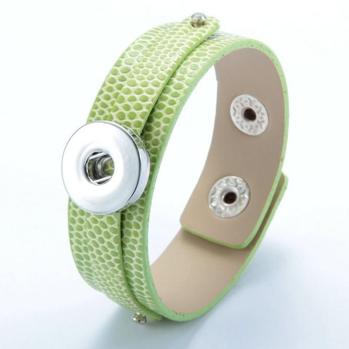 Lime Green Leather Snap Bracelet, Faux Snake Skin Texture, Snap Charm Bracelet,