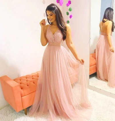 6440d3a350 Pink A Line Prom Dress Tulle Sexy Deep V Neck Open Back Crystal Beaded Floor