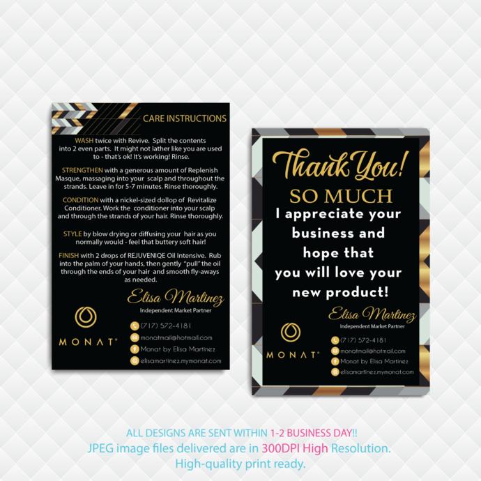 Monat Thank You Card, Monat Care Instruction Card, Monat Cards, Custom Monat