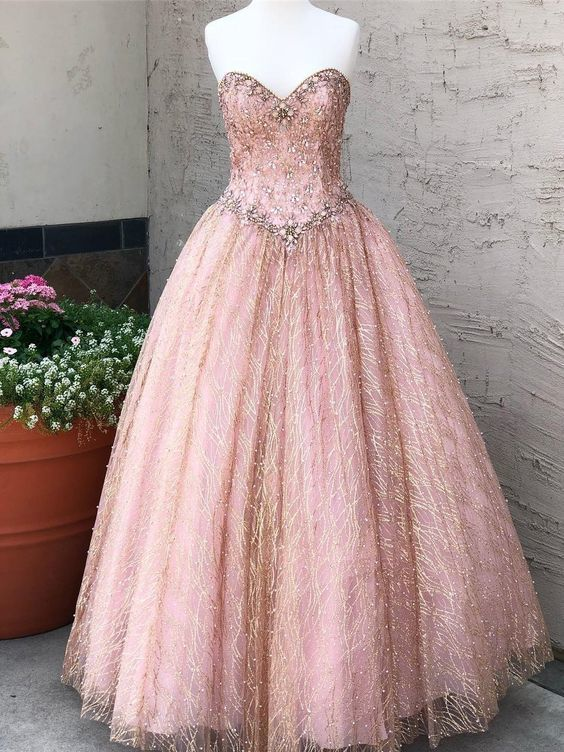 Chic Pink Prom Dress A-line Sweetheart Beading Long Prom Dresses Party Evening