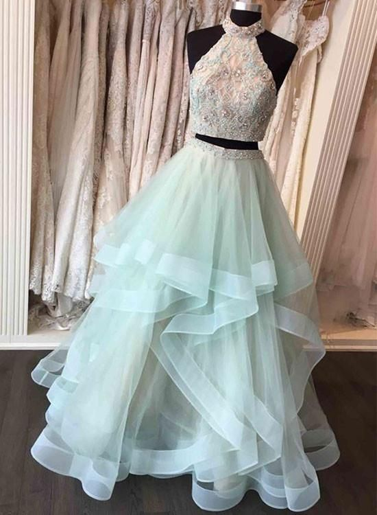 Custom made two pieces tulle long prom gown, evening dress