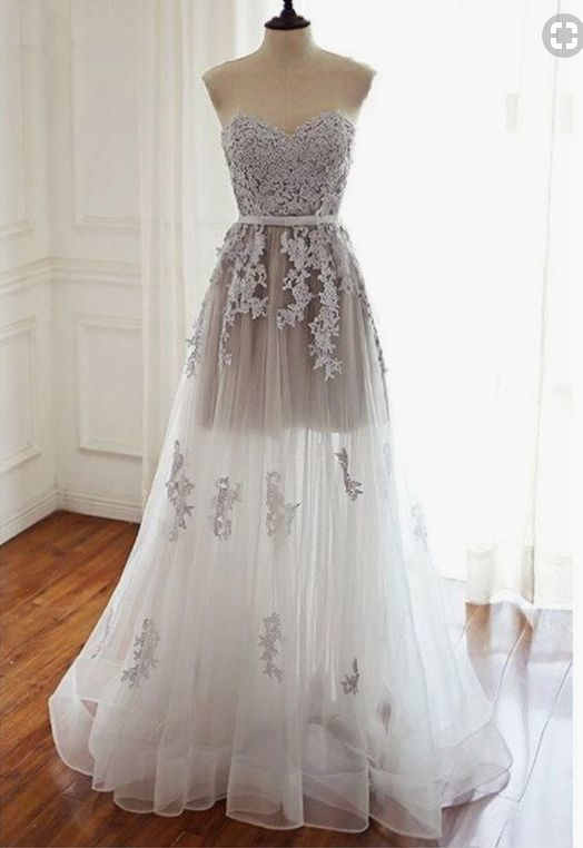 A Line Sweetheart Long Tulle Prom Dresses with Lace